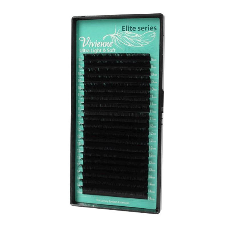 Ресницы для наращивания черные Vivienne Ultra Light & Soft тип С (20 линий)