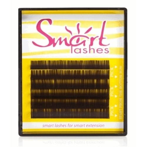 Ресницы для наращивания коричневые Smart lashes (6 линий) изгиб L